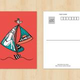 ヨットのポストカードイラスト